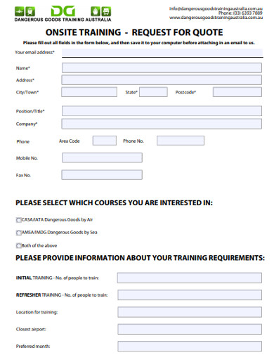 onsite training request for quotation