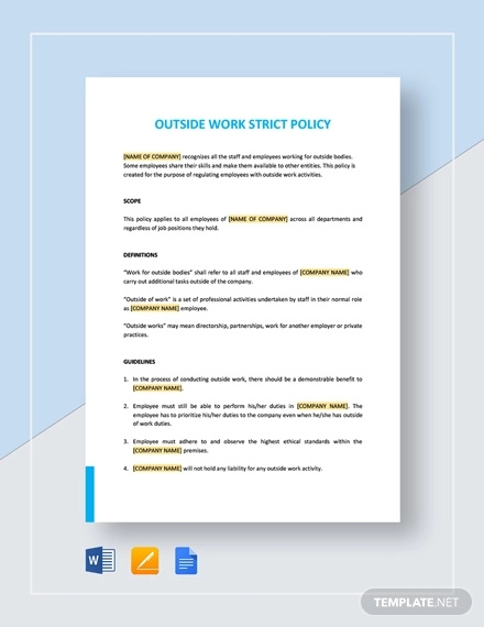 outside work strict policy template