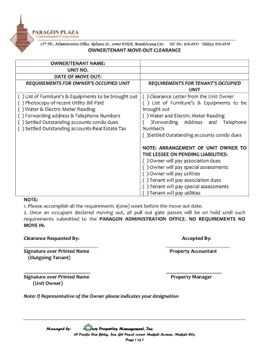 owner tenant check out clearance form