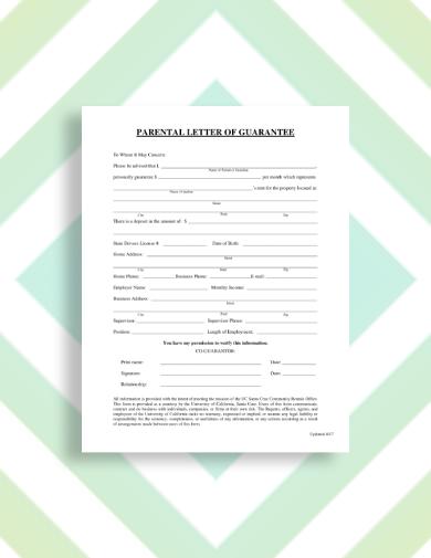parental rental guarantor letter