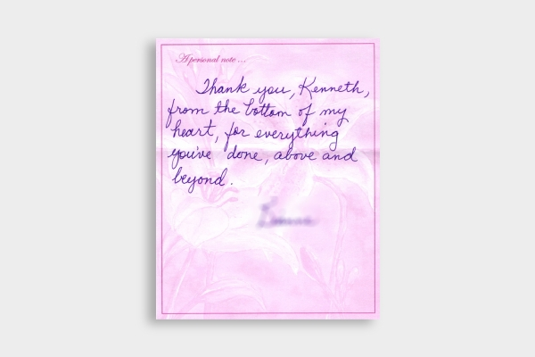 personal funeral thank you card