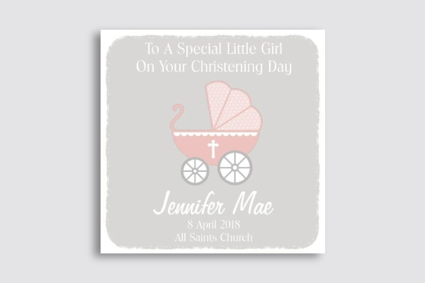 personalised girl baptism card