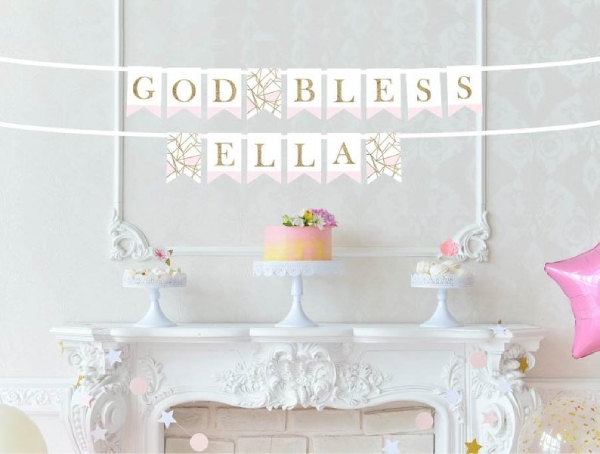 pink and gold baptism banner