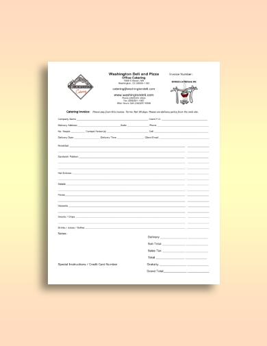 pizza catering invoice