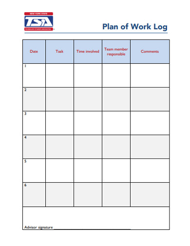plan of work log