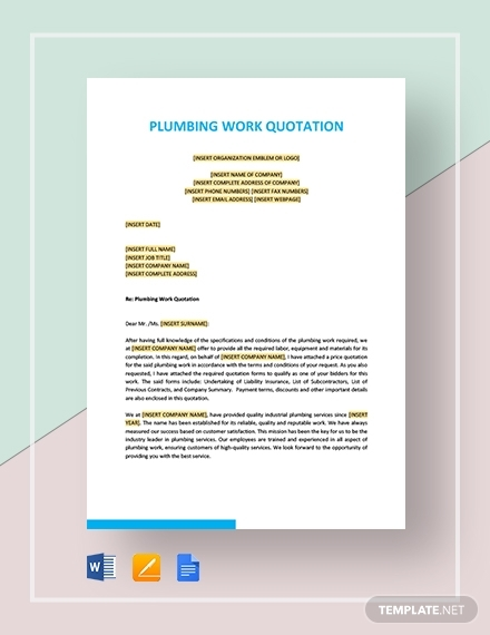 plumbing work quotation template