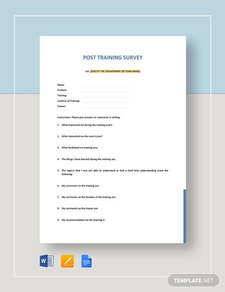 post training survey template
