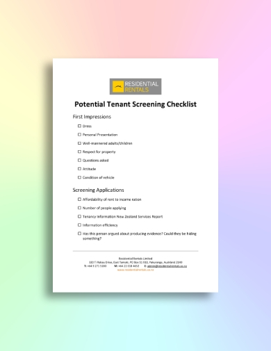 potential tenant screening checklist