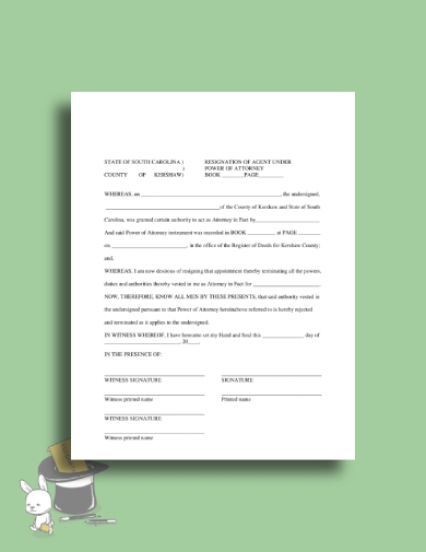 power of attorney agent resignation letter