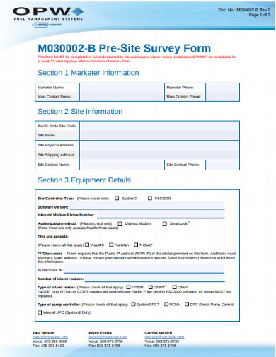 pre site survey form