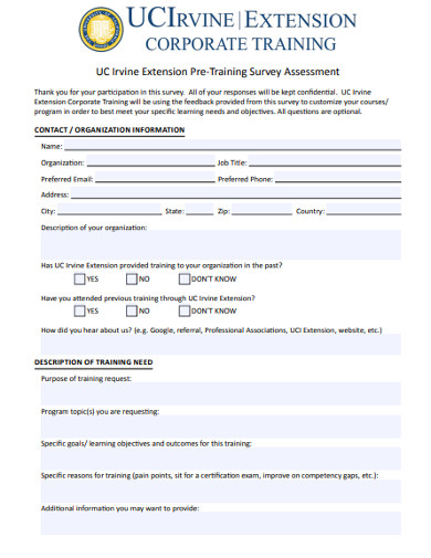 pre training survey assessment