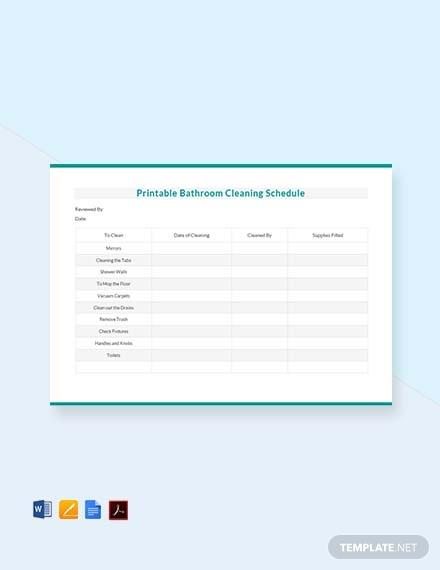 printable bathroom cleaning schedule template