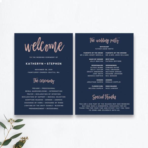 printable church wedding program
