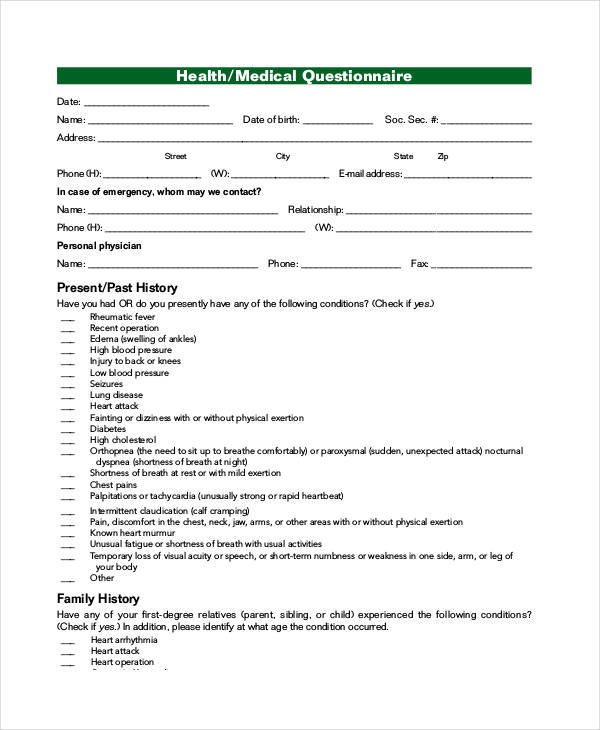 printable medical questionnaire template