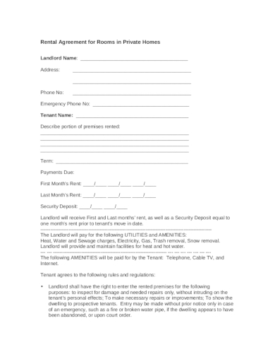private home room rental agreement