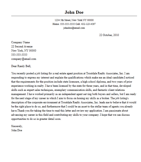 professional real estate agent cover letter sample