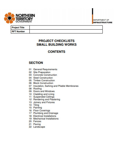 project building works checklist