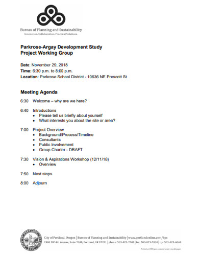 project working group agenda