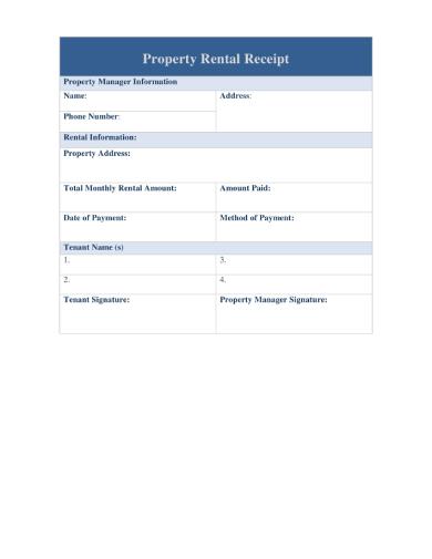 property rental receipt