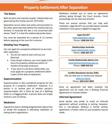 property settlement after separation