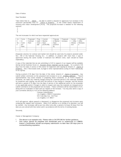 proposed rental increase letter