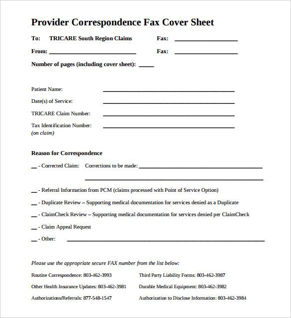provider correspondence medical fax cover sheet