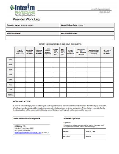 provider work log