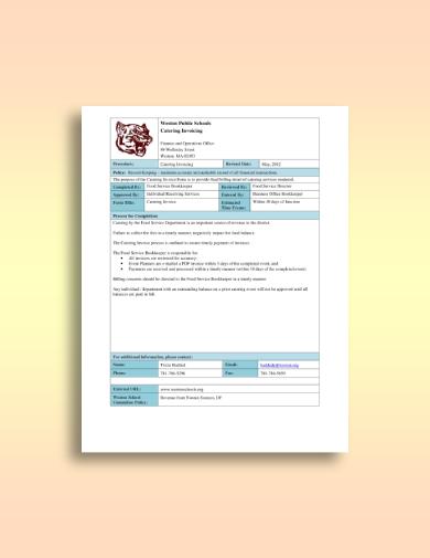 public school catering invoice