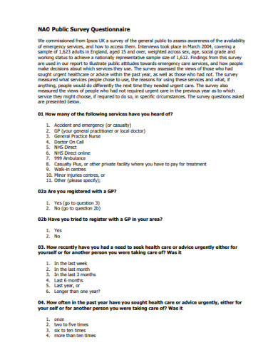 public survey questionnaire