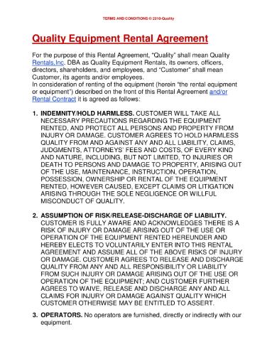 quality equipment rental agreement