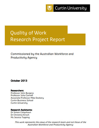 quality of work research project report