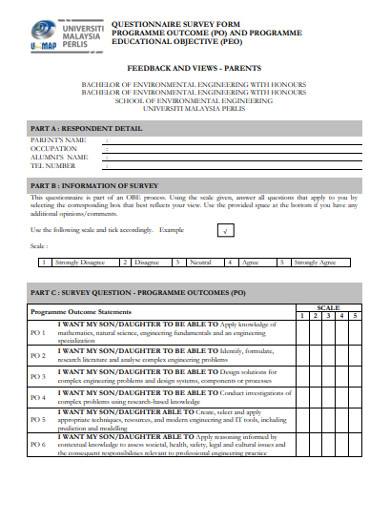 questionarrie survey form