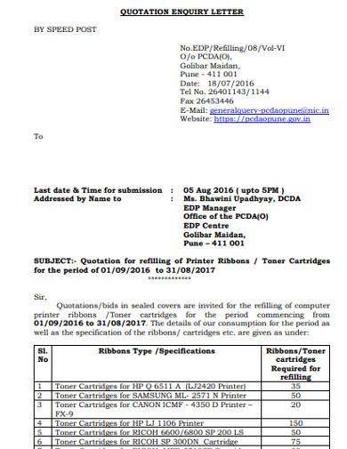 quotation enquiry letter