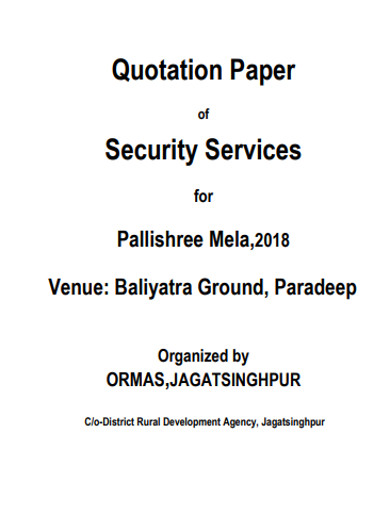 quotation paper of security services