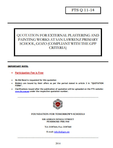 quotation for external painting plastering works