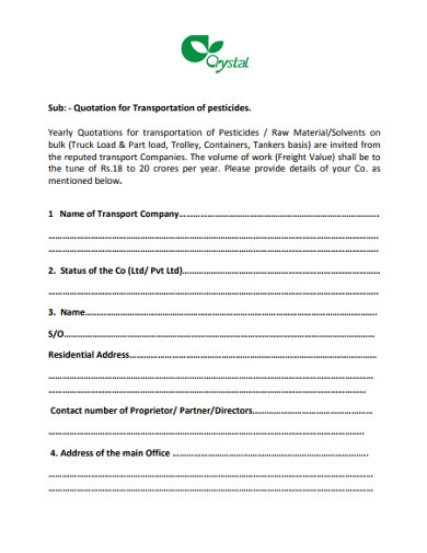quotation for transportation of pesticides