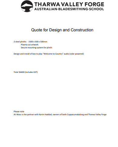quote for design and construction