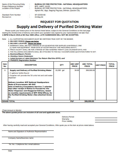 rfq for delivery of purified drinking water1