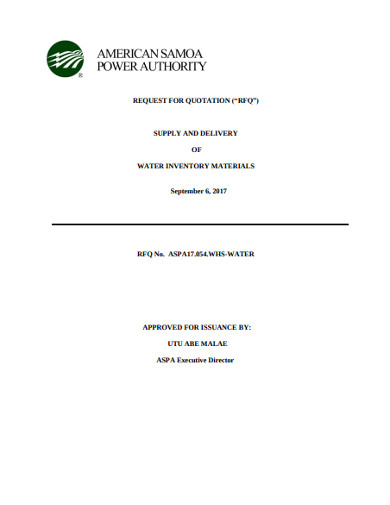 rfq for delivery of water inventory material