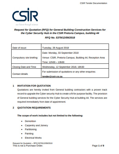 rfq for general building construction services