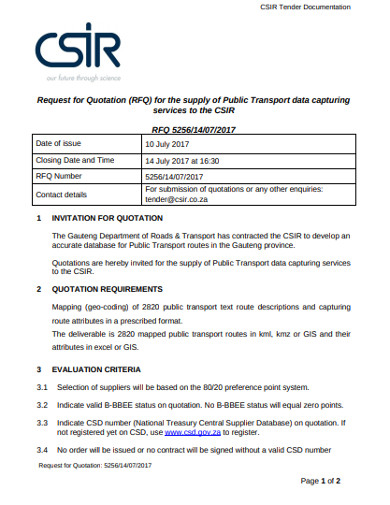 rfq for supply of public transport data