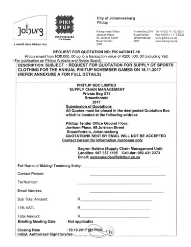 rfq for supply of sports clothing