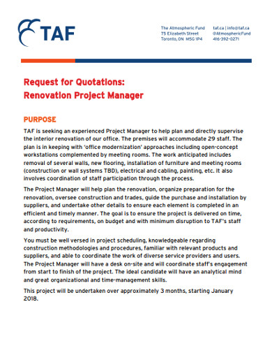 rfq of renovation project manager