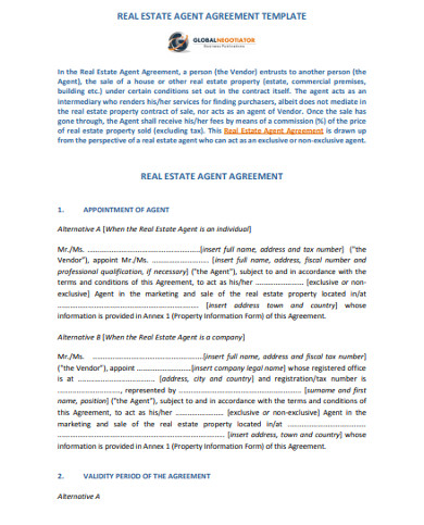real estate agent agreement template