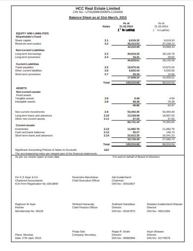 real estate balance sheet in pdf