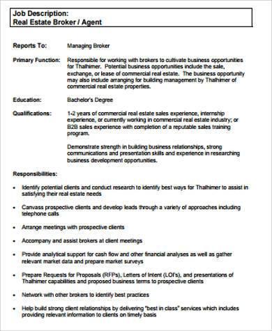 real estate broker agent job description for resume