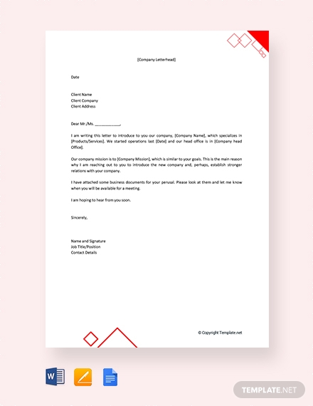 real estate company introduction letter to client