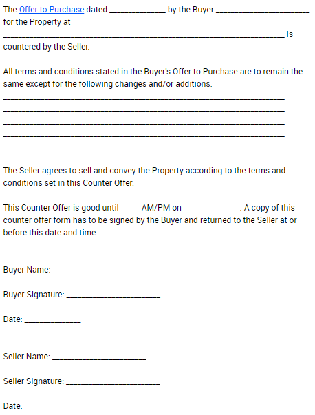 real estate counter offer form