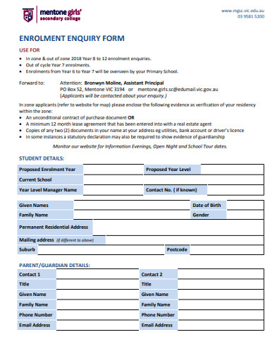 real estate enrolment enquiry form