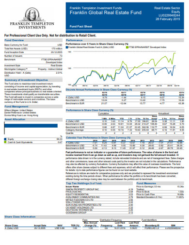 real estate fund fact sheet